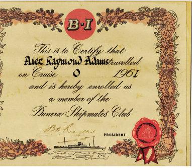 Dunera Shipmates Club certificate - image