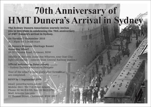 70th Anniversary of Dunera's Arrival in Sydney - image